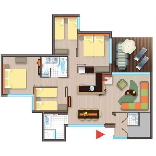 Cottage Premium Eden BF226 à Les BoisFrancs ~ Plan Des Cottages Center Parc Les Bois Francs
